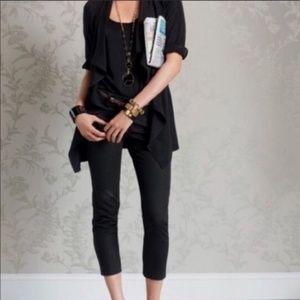 Cabi Black Pique Cropped Jean Pants